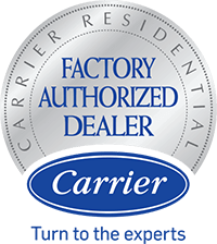 Carrier Factory Authorized Dealer badge. Silver/Blue